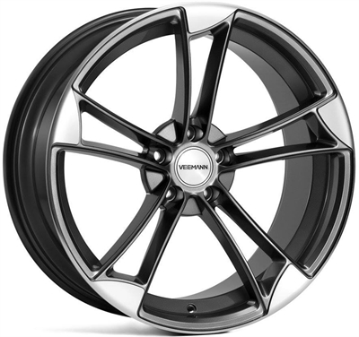 282175 VEE VM9 9019511225 Veeman Vm1 fælg, 9x19 ET25, 112.00/5, Ø66.6, sapphire grey - machined polished face Veeman