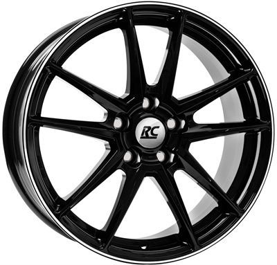 217447 RC RC22003 751751203 Rc Rc22 fælg, 7.5x17 ET35, 120.00/5, Ø72.6, Black glossy - polished lip RC Design