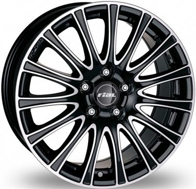 120227 RIA RAV 7516511238BP Rial Ravenna fælg, 7.5x16 ET38, 112.00/5, Ø70, Diamond black & polished Rial