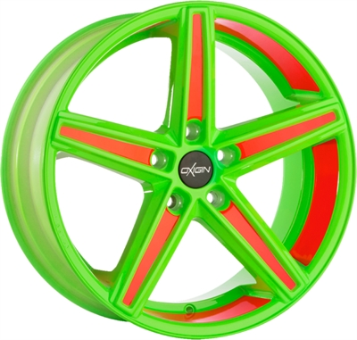 312282 OXI 18C1 10022512040 Oxigin 18 Concave fælg, 10x22 ET40, 120.00/5, Ø76.9, neon orange foil Oxigin