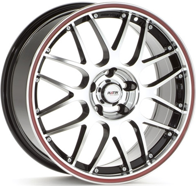 309429 PLA P61B3 8018511245 Platin P61 fælg, 8x18 ET45, 112.00/5, Ø66.5, black polished - red edge Platin