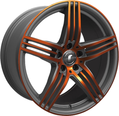 324094 ROD DESI18 95195112B Rondell Design 0217 fælg, 9.5x19 ET33, 112.00/5, Ø70.3, grey - glossy orange polished Rondell