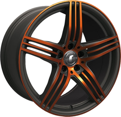 324505 ROD DESI6 851951123B Rondell Design 0217 fælg, 8.5x19 ET32, 112.00/5, Ø70.3, black - glossy orange polished Rondell