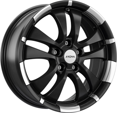 353210 RON R59J2 751851203C Ronal R59 fælg, 7.5x18 ET35, 120.00/5, Ø72.5, jet black matt - rim lip diamond cut Ronal