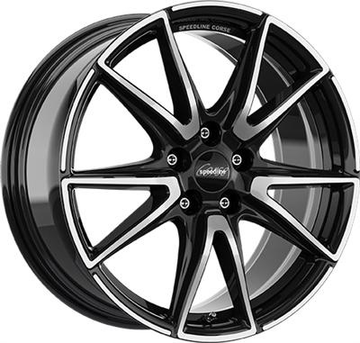 308151 SPE SL6V 8519511221 Speedline Sl6 Vettore fælg, 8.5x19 ET21, 112.00/5, Ø66.5, jet black - front diamond cut SpeedLine