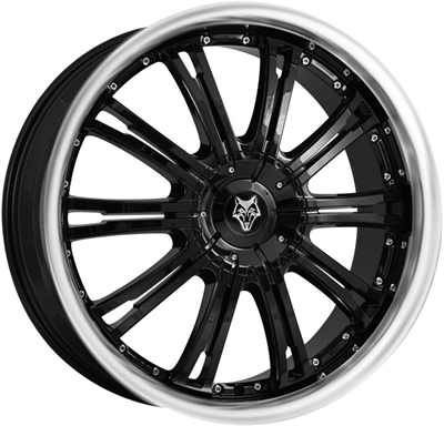 358493 WOD VERM1 8520511220 Wolf Design Vermont fælg, 8.5x20 ET20, 112.00/5, Ø72.6, gloss black - polished lip Wolf Design