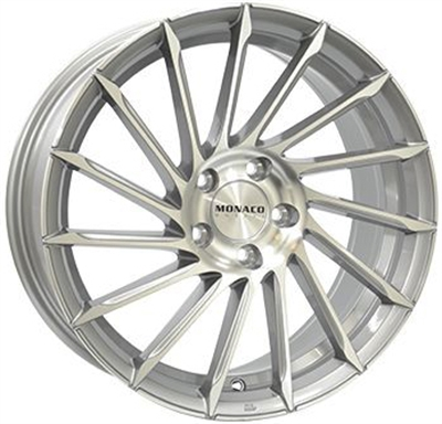 332281 MC MONA110 8519512F Monaco Turbine fælg, 8.5x19 ET42, 120.00/5, Ø72.6, light gray polished Monaco