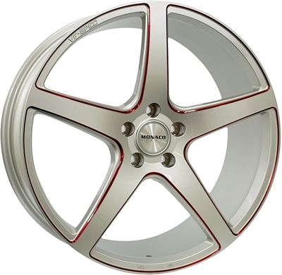 332159 MC MONA120 8520511B Monaco Tr4 fælg, 8.5x20 ET45, 112.00/5, Ø66.6, silver / red anodised Monaco