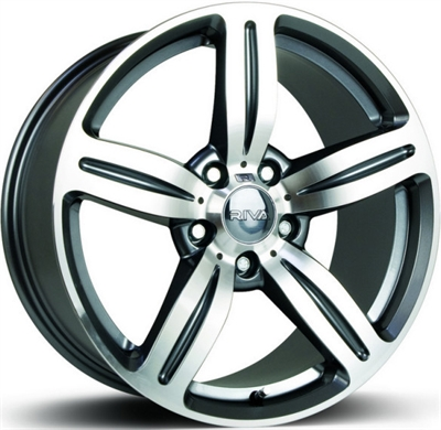 337710 RIV MS4 8018512035B Riva Wheels Msx fælg, 8x18 ET35, 120.00/5, Ø72.6, anthracite & polished Riva Wheels