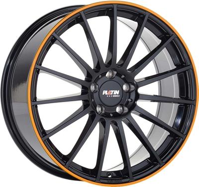 407785 PLA P722 8520511245B Platin P75 fælg, 8.5x20 ET45, 112.00/5, Ø66.5, black lip orange Platin