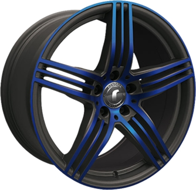 414999 ROD 024 8518512035B Rondell 0217 fælg, 8.5x18 ET35, 120.00/5, Ø72.6, black, glossy blue elpho polish Rondell