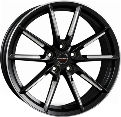 429250 BOR LXBP 8519511230 Borbet LX fælg, 8.5x19 ET30, 112.00/5, Ø66.6, black matt spoke rim polished Borbet