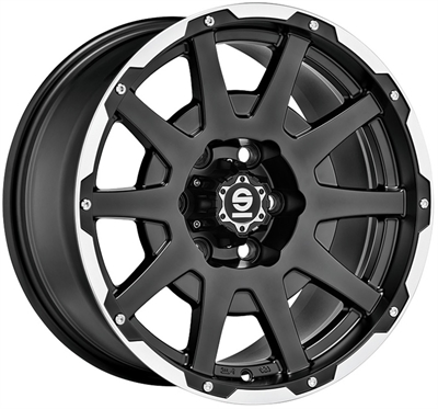 439459 SPA DAL 7517613942 Sparco Dakar fælg, 7.5x17 ET42, 139.70/6, Ø93, matt black lip polished+rivets Sparco